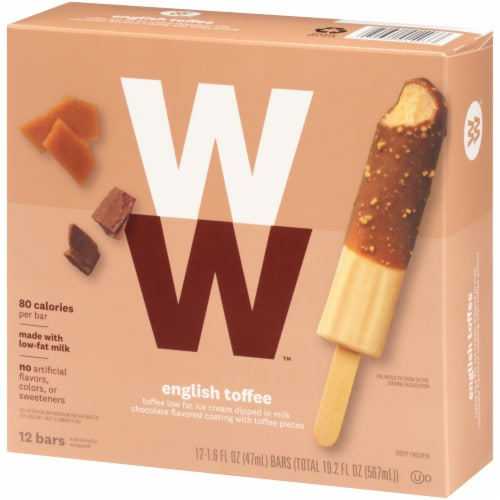 Weight Watchers English Toffee Crunch Ice Cream Bars Perspective: right