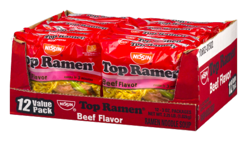 Nissin Top Ramen Beef Flavor Noodle Soup Perspective: right