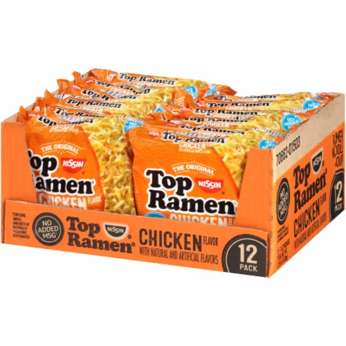 Top Ramen Chicken Flavor Ramen Noodle Soup 12 Count Perspective: right