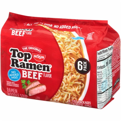 Top Ramen Beef Flavor Ramen Noodle Soup Perspective: right