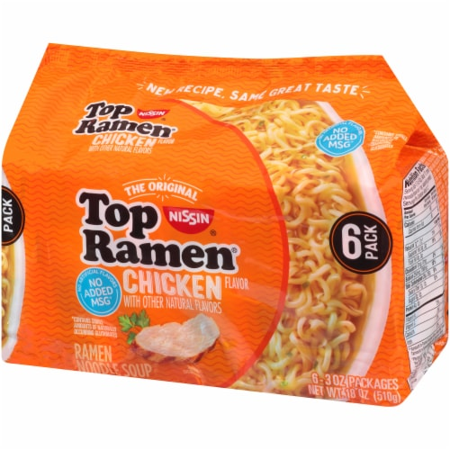 Top Ramen Chicken Flavor Ramen Noodle Soup Perspective: right