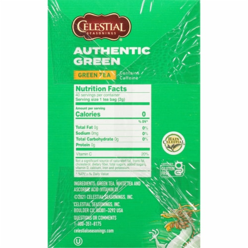 Celestial Seasonings Authentic Green Tea Tea Bags Perspective: right