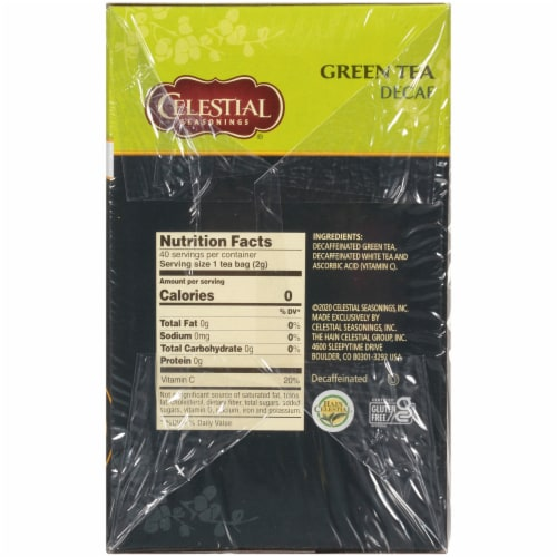 Celestial Seasonings Decaf Green Tea Bags Perspective: right