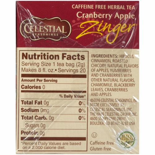 Celestial Seasonings Cranberry Apple Zinger Tea Bags Perspective: right