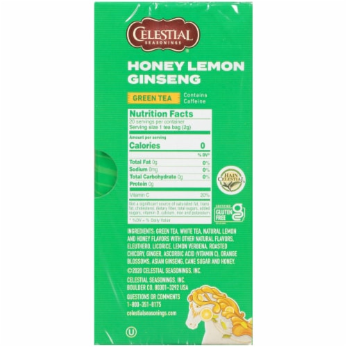Celestial Seasonings Honey Lemon Ginseng Green Tea Bags Perspective: right