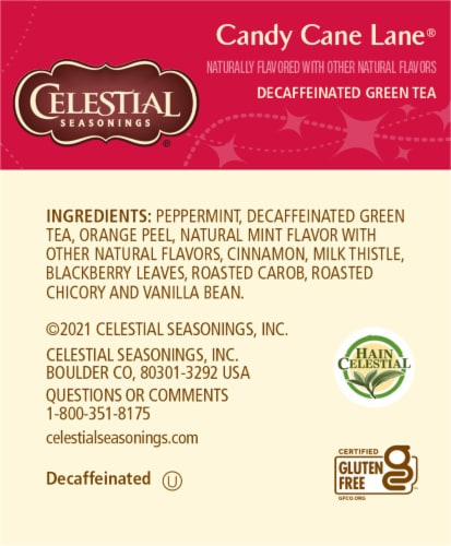 Celestial Seasonings Candy Cane Lane Decaf Green Holiday Tea Bags Perspective: right