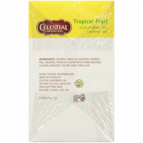 Celestial Seasonings Tropical Fruit Cool Brew Iced Herbal Tea Bags Perspective: right