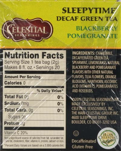 Celestial Seasonings Blackberry Pomegranate Sleepytime Decaf Green Tea Bags 20 Count Perspective: right