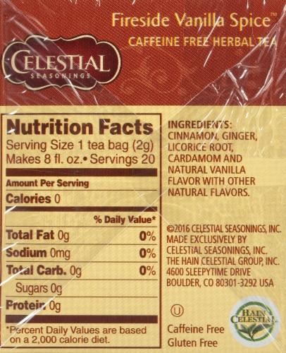 Celestial Seasonings Fireside Vanilla Spice Herbal Tea Bags Perspective: right