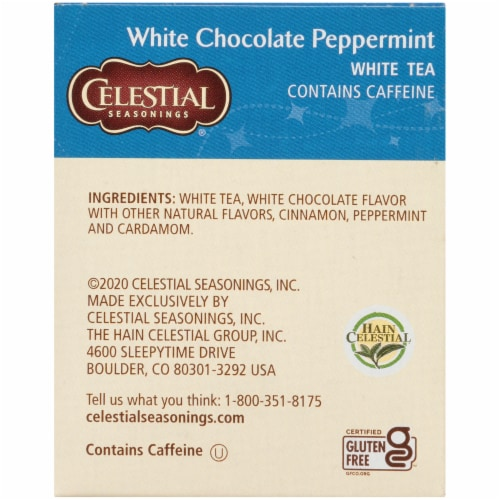 Celestial Seasonings White Chocolate Peppermint White Tea Bags Perspective: right