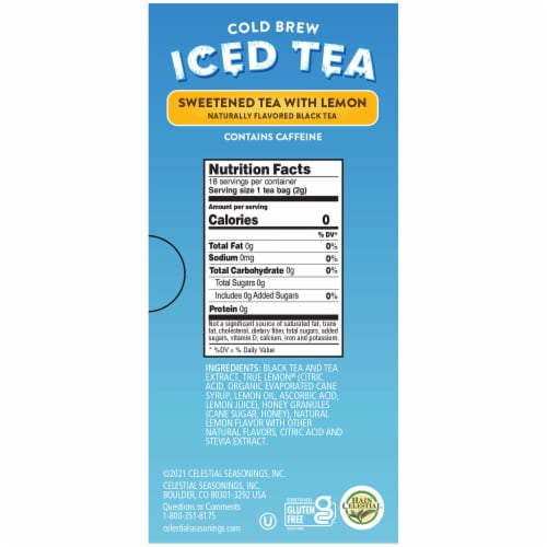 Celestial Seasonings® Sweetened with Lemon Cold Brew Iced Tea Perspective: right