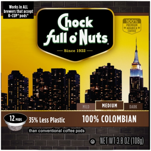 Chock full o'Nuts 100% Colombian Medium Roast Single-Serve Pods Perspective: right