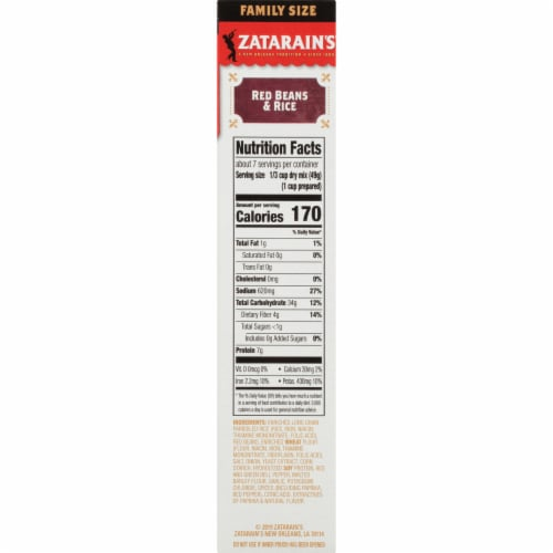 Zatarain's Red Beans & Rice Dinner Mix Family Size Perspective: right