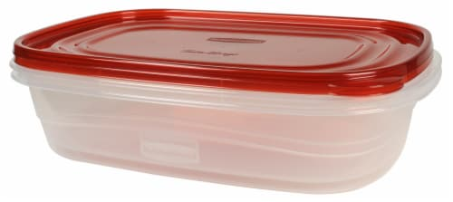 Rubbermaid TakeAlongs Large Rectangle Food Storage Containers - 2 Pack - Clear/Red Perspective: right
