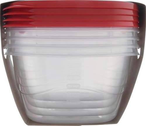 Rubbermaid TakeAlongs Deep Square Food Storage Containers - 4 Pack - Clear/Red Perspective: right