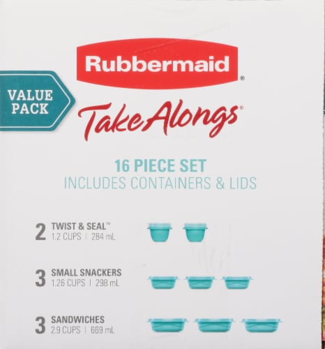 Rubbermaid TakeAlongs Food Containers & Lids - Aqua/Clear Perspective: right