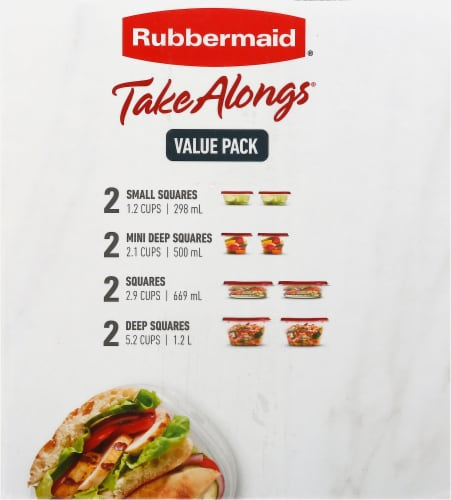 Rubbermaid® Take Alongs Food Storage Container Set - Clear/Ruby Perspective: right