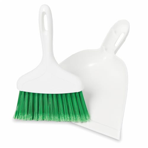 Libman® Whisk Broom and Dust Pan - White/Green Perspective: right
