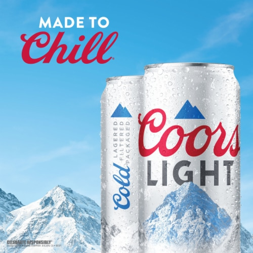 Coors Light American Light Lager Beer 4 Count Perspective: right