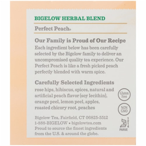 Bigelow Perfect Peach Herbal Tea Perspective: right