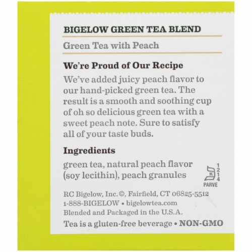 Bigelow Green Tea with Peach Tea Bags 20 Count Perspective: right