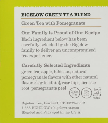 Bigelow Green Tea with Pomegranate Tea Perspective: right