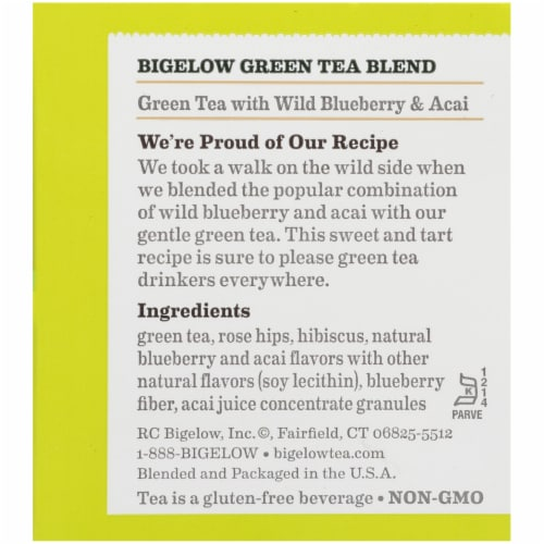 Bigelow Green Tea with Wild Blueberry & Acai Tea Perspective: right