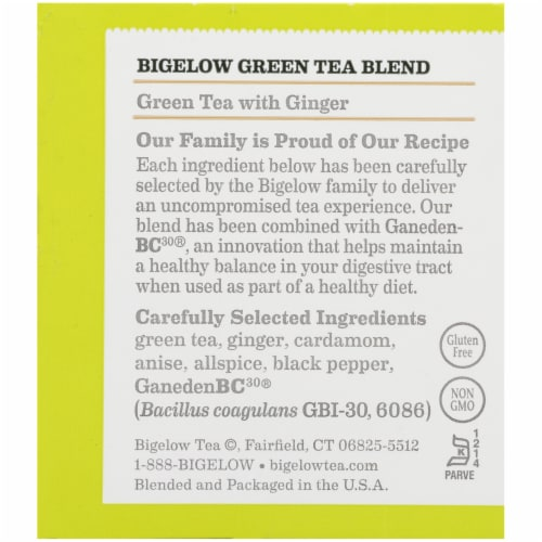 Bigelow Green Tea with Ginger Plus Probiotics Tea Bags Perspective: right