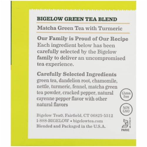 Bigelow Macha Green Tea Bags with Turmeric Perspective: right