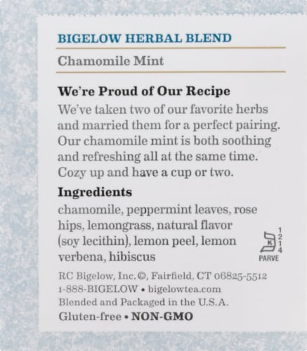 Bigelow Chamomile Mint Herbal Tea Bags 20 Count Perspective: right