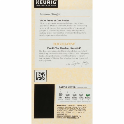 Bigelow Lemon Ginger Herbal Tea K-Cup Pods Perspective: right