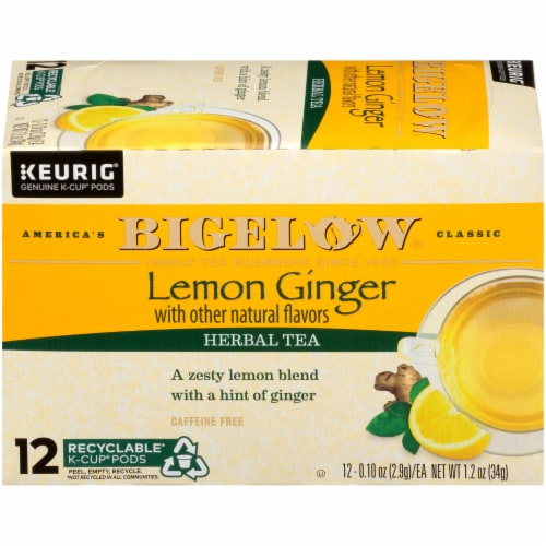 Bigelow Lemon Ginger Herbal Tea K-Cup Pods 12 Count Perspective: right