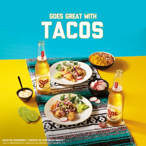 Sol Cerveza Mexican Import Beer 12 Bottles Perspective: right