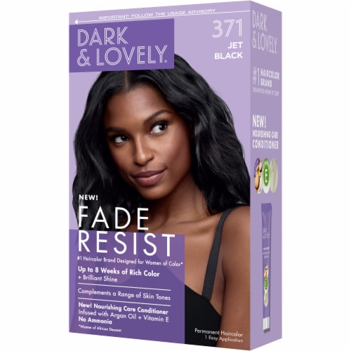 Dark & Lovely 371 Jet Black Fade Resist Hair Color Perspective: right