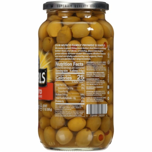 Pearls® Pimiento Stuffed Manzanilla Green Olives Perspective: right