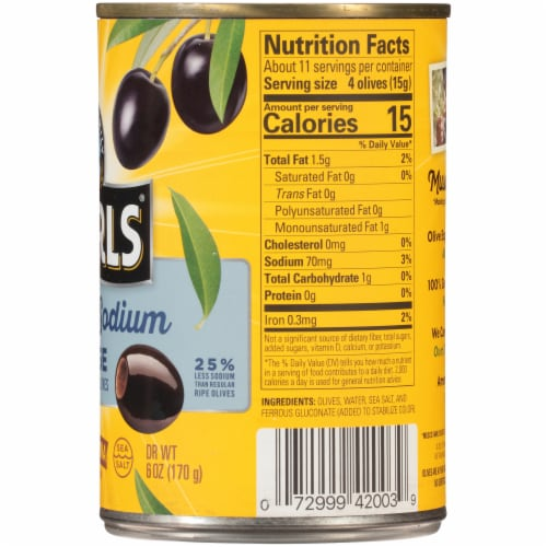 Pearls Reduced Sodium Large Pitted California Ripe Olives Perspective: right