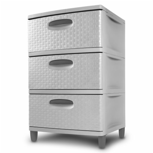 Sterilit Weave 3 Drawer Unit - Cement/Gray Perspective: right