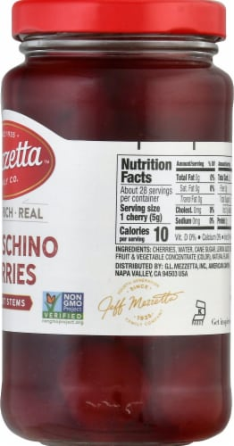 Mezzetta Maraschino Cherries without Stems Perspective: right