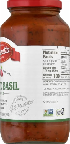 Mezzetta Napa Valley Homemade Tomato & Sweet Basil Pasta Sauce Perspective: right