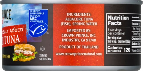 Crown Prince No Salt Added Natural Solid White Albacore Tuna Perspective: right