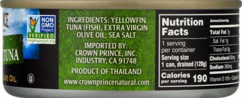 Crown Prince Natural Solid Light Yellowfin Tuna in Extra Virgin Olive Oil Perspective: right