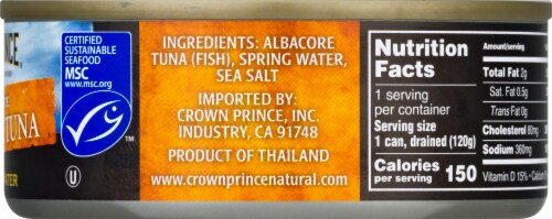 Crown Prince Natural No Salt Added Albacore Tuna in Water Perspective: right