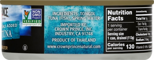 Crown Prince Natural Chunk Light No Salt Added Tongol Tuna In Spring Water Perspective: right