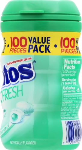 Mentos Pure Fresh Spearmint Sugar Free Chewing Gum 100 Count Perspective: right