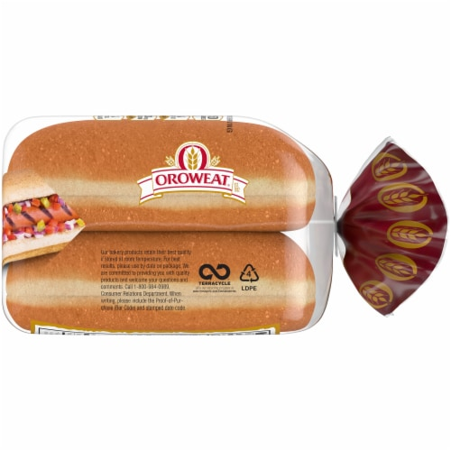 Oroweat 100% Whole Wheat Hot Dog Buns Perspective: right
