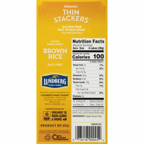 Lundberg Organic Brown Rice Puffed Grain Cakes Perspective: right
