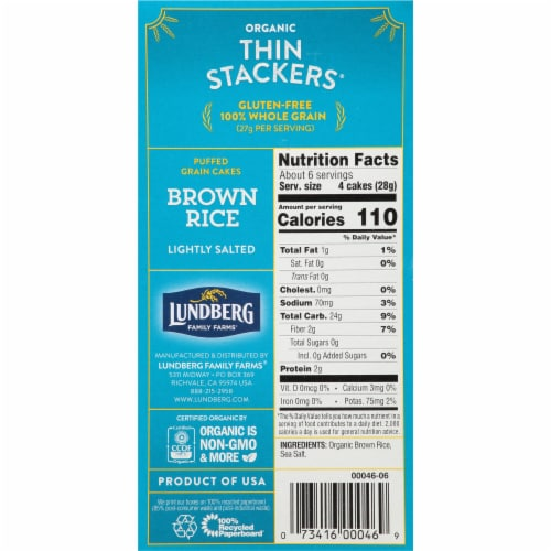Lundberg Organic Lightly Salted Thin Stackers Brown Rice Puffed Grain Cakes Perspective: right
