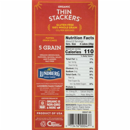 Lundberg Organic 5 Grain Thin Stackers Puffed Grain Cakes Perspective: right