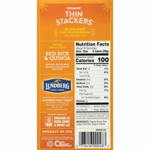 Lundberg Thin Stackers Organic Red Rice & Quinoa Puffed Grain Cakes Perspective: right