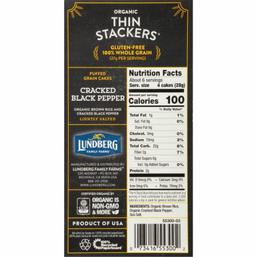 Lundberg Family Farms Organic Thin Stackers Cracked Black Pepper Rice Cakes Perspective: right